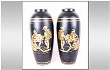 Staffordshire John Tams Crown Pottery Pair of Blac