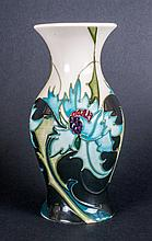 Moorcroft Tubed Lined Modern Vase 'Sea Holly' Desi