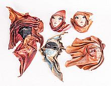 Five Decorative Pressed Leather Wall Masks with Pa
