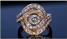 18ct Gold Set Double Crossover Diamond Cluster