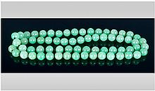 Long Strand Of Jadeite Stone Coloured Bead