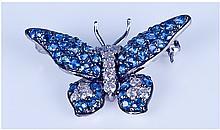 18ct White Gold Very Fine Set Diamond and Sapphire