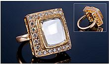 Large Diamond Cluster Ring, Set With A Large