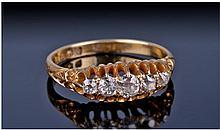 18ct Gold Diamond Ring, Set With Round Graduating