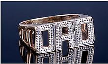 9ct Gold Diamond Set ''DAD'' Ring, Fully
