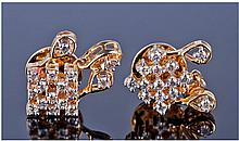18ct Gold Diamond Earrings, Of Cluster Form Set