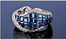 18ct Gold Diamond & Sapphire Cluster Ring,