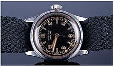 Rolex 1940's Boys Size Wristwatch Black Dial With