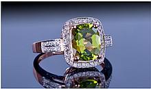 14ct Rose Gold Diamond & Peridot Ring, Set With A