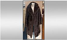 Ladies Dark Brown Mink Coat, fully lined, Slit