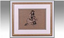 20th Century Nude Portrait of a Seated Girl.