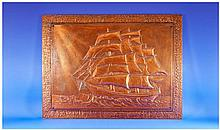 Decorative Copper Wall Plaque depicting boating