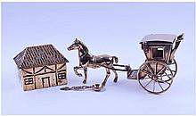 A Brass Figure Of A Horse And Carriage. Together