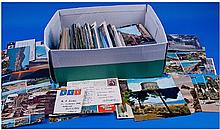 Box Of Assorted Postcards And Stamps.