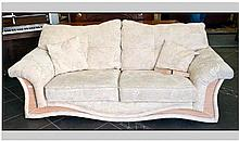 Three Seater Settee, cream upholstered fabric with