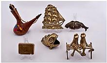 Five Brass Ornaments And A Spanish Souvenir Olive