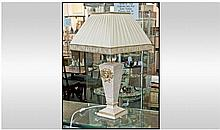 Versace Style Table Lamp, with cream shade. Height