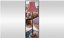 Walnut 1930's Standard Lamp. With pink silk shade