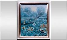 Framed Oil on Canvas, Signed Paulski. 'Man on Boat