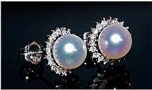 Pair Of Ladies 9ct White Gold Earrings, Set with a