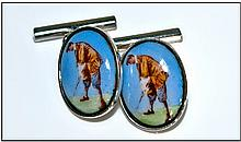Gents Pair Of Cufflinks. Oval Fronts Depicting A