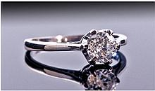 18ct White Gold Diamond Solitaire, Set with a
