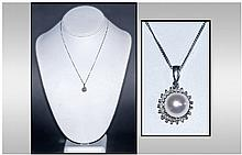 Ladies 9ct White Gold Pendant And Chain, Set with