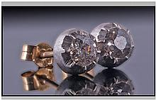 18ct Gold Diamond Stud Earrings, Set With Old