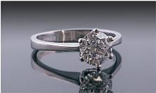 Platinum Diamond Solitaire, Set With Round Modern