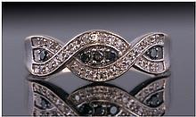 14ct Gold Diamond Ring, Set With Round Cut Black
