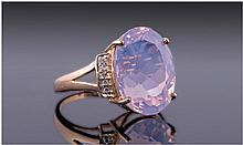 Lavender Quartz and Diamond Ring, the large, oval,
