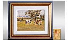 Monogram JH Watercolour. Cattle in a field close