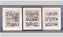Set Of 3 Antique Black & White Prints Of South