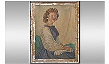Local Artist Fred Wood Oil Painting Portrait Of A