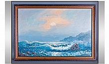Large Framed Oil Painting. Depicting rough seas