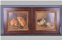 Pair Of Attractive Coloured Prints. Both depicting