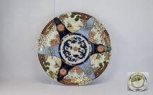 19thC Japanese Imari Charger, Painted Landscape Panels, Wired Back For Hang