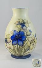 William Moorcroft Signed Salt Glaze Globular Shaped Vase, Floral Design on