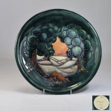 W. Moorcroft Hand Painted Circular Cabinet Plate ' Fishes ' Design, Signed