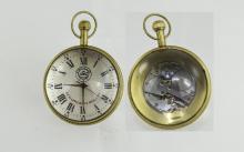 A Vintage Nautical Echappement Roskopf Brass and Glass Ball Clock / Watch w
