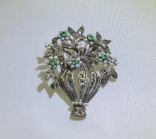 Emerald, Seed Pearl and Marcasite 'Forget-Me-Not' Brooch/Pendant, an openwo
