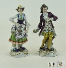 Samson - 19th Century Pair of Fine Hand Painted Porcelain Figures ' Man and
