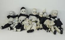 Vintage - French Pierrot Harlequin Dolls ( 10 ) In Total. c.1960's, with Po