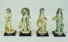G. Armani, Handpainted Resin Figures, Raised On Square Wooden Plinths, 4 In