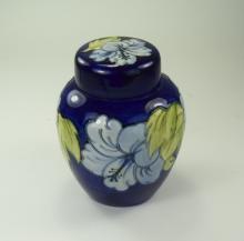 Moorcroft - Tubelined Lidded Ginger Jar ' Blue Hibiscus ' Design on Blue Gr
