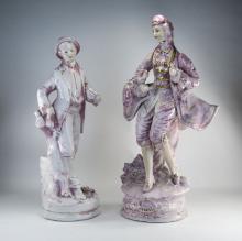 Italian Decorative Pair of Large Hand Decorated 19th Century Dressed Cerami