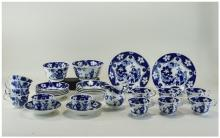 Early 19thC Blue & White Teaset Chinoiserie Decorated Pottery, 'Eskimo Chil
