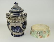 Large West German Two Handled Lidded Preserve Jar. Blue Decoration On Beige