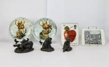 Mixed Lot Comprising 3 Resin Bronzed Figures, 2 Royal Mail Fine Porcelain S