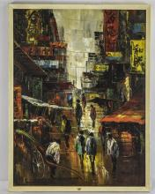 Tang Ping Modernist Oriental Oil On Board, Chinese Street Scene With Figure